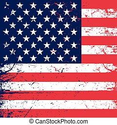 アメリカ人, グランジ, 旗, 背景, 1606