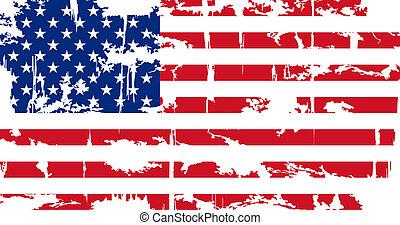 アメリカ人, グランジ, flag., ベクトル, illustration.