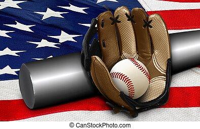 アメリカ人, コウモリ, 野球, 旗, 手袋