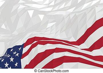 アメリカ人, スタイル, 旗, 三角