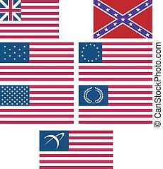 アメリカ人, セット, 旗