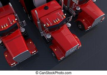アメリカ人, トラック, 駐車