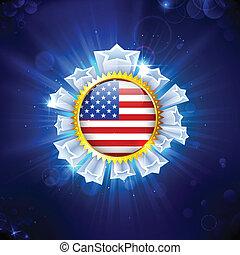 アメリカ人, バッジ, 旗