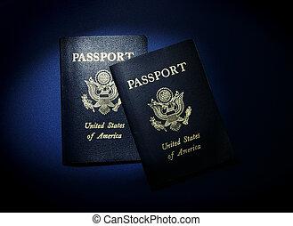 アメリカ人, パスポート, 上に, 青
