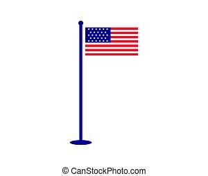 アメリカ人, ベクトル, 旗, イラスト