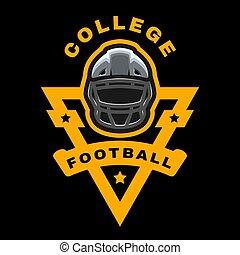アメリカ人, ベクトル, 暗い, ロゴ, バックグラウンド。, illustration., football., 紋章, スポーツ