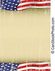 アメリカ人, ポスター, 振ること, グランジ, 旗