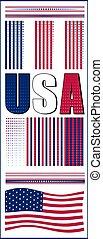 アメリカ人, 例, セット, 旗, ベクトル, アメリカ, text., イラスト