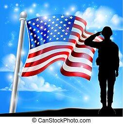 アメリカ人, 兵士, 旗, 背景, 愛国心が強い, 挨拶