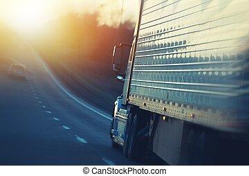 アメリカ人, 半 トラック, 上に, ハイウェー