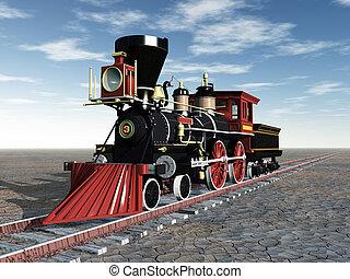 アメリカ人, 古い, 蒸気, 機関車