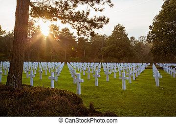 アメリカ人, 墓地, ノルマンディー, colleville