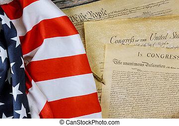 アメリカ人, 宣言, 独立, 州, 憲法, 旗, 私達, 人々, preamble, 合併した