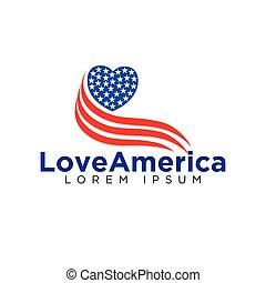 アメリカ人, 心, ベクトル, ロゴ, 愛