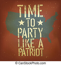 アメリカ人, 愛国心が強い, ポスター, ベクトル, eps10