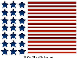アメリカ人, 抽象的, 旗, イラスト