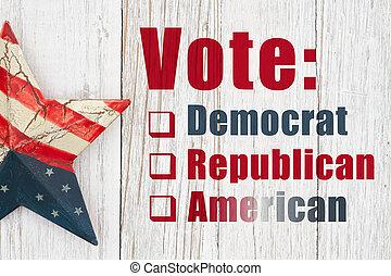 アメリカ人, 星, メッセージ, アメリカ, タイプ, レトロ, 投票