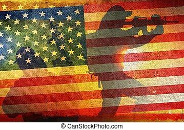 アメリカ人, 概念, 旗, 軍隊