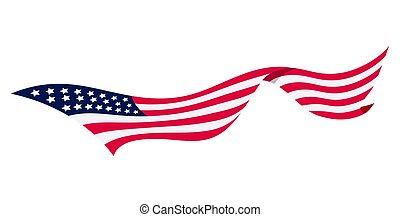 アメリカ人, 背景, america., 国民, 州, 旗, 合併した, シンボル, -, 白, 波状, flag., 振ること, ベクトル, イラスト