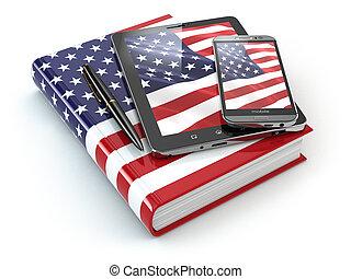 アメリカ人, 英語, learning., モビール, 装置, smartphone, タブレットの pc