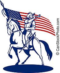 アメリカ人, 装甲部隊, 乗馬, 馬, 吹く, a, 軍用ラッパ, そして, スターとストライプ, 旗, 中に, 背景