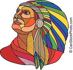 アメリカ人, 責任者, indian, 図画, 頭飾り, ネイティブ