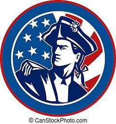 アメリカ人, 革命家, 兵士, ∥で∥, スターとストライプ, 旗, 中に, 背景, セット, 中, a, 円