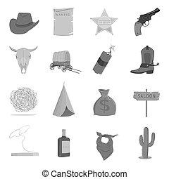 アメリカ西部地方, セット, アイコン, 中に, モノクローム, style., 大きい, コレクション, の, アメリカ西部地方, ベクトル, シンボル, 株イラスト