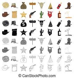 アメリカ西部地方, セット, アイコン, 中に, 漫画, style., 大きい, コレクション, の, アメリカ西部地方, ベクトル, シンボル, 株イラスト