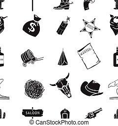 アメリカ西部地方, パターン, アイコン, 中に, 黒, style., 大きい, コレクション, の, アメリカ西部地方, ベクトル, シンボル, 株イラスト
