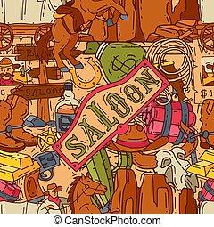 アメリカ西部地方, 壁紙, 馬蹄, カラフルである, 要素, 帽子, pattern., カウボーイ, 西部, seamless, ブーツ