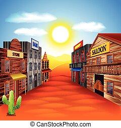 アメリカ西部地方, 町, ベクトル, 背景