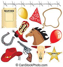 アメリカ西部地方, birthday, clipart, カウボーイ