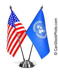 アメリカ, そして, 国際連合, -, ミニチュア, flags.