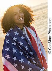 アメリカ, アメリカ人, 混ぜられた, 旗, レース, 日没, ティーネージャー, アフリカ, 包まれた, 女の子, 浜