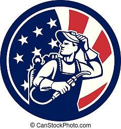 アメリカ, アメリカ人, 火をつけられた, 旗, オペレーター, アイコン