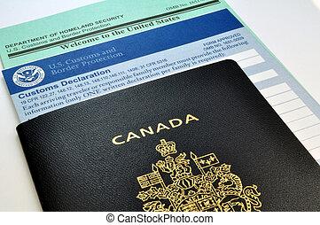 アメリカ, カナダ, 習慣, 形態, usa:, パスポート, 到着