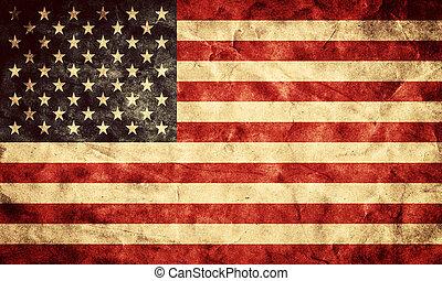 アメリカ, グランジ, flag., 項目, から, 私, 型, レトロ, 旗, コレクション