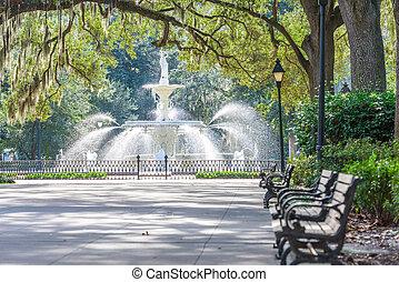 アメリカ, ジョージア, forsyth, 公園, 噴水, サバンナ