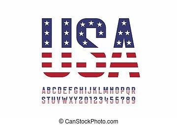 アメリカ, スタイル, 旗, 国民, 壷