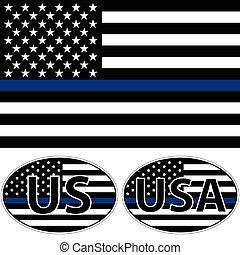 アメリカ, ストライプ, 旗, 青