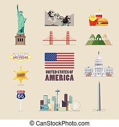 アメリカ, セット, アイコン