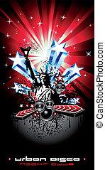 アメリカ, ディスコ, 動機, 旗, 背景, フライヤ