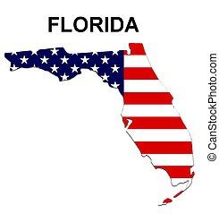 アメリカ, フロリダ, ストライプ, 州, デザイン, 星