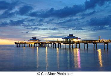 アメリカ, フロリダ, myers, 桟橋, 日没, 城砦
