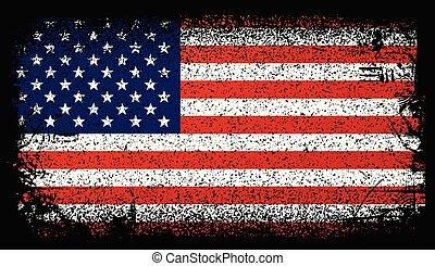 アメリカ, ベクトル, flag., 旗, 背景, 合併した, グランジ, 州, イラスト