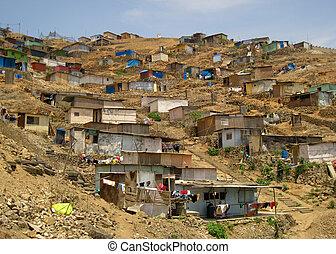 アメリカ, ペルー, リマ, 南, 町, 掘っ建て小屋