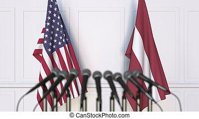 アメリカ, レンダリング, ラトビア, 旗, インターナショナル, conference., ミーティング, ∥あるいは∥, 3d