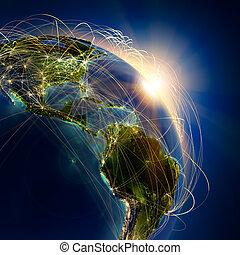 アメリカ, 中央である, 上に, 空気, 本, ルート