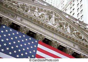 アメリカ, 交換, wallstreet, ニューヨーク, 株
